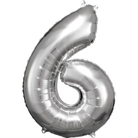 Cijfer ballon folie zilver XL 86 cm cijfer 6
