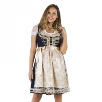 Luxe Dirndl jurk blauw/creme Jaquard