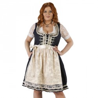 Luxe Dirndl jurk grote maat blauw/creme