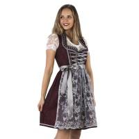 Luxe Dirndl jurk rood/zilvergrijs Jaquard
