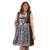 Luxe Dirndl jurk grote maat rood/zilvergrijs