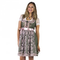 Luxe Dirndl jurk groen/oudroze Jaquard