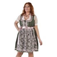 Luxe Dirndl jurk grote maat groen/oudroze