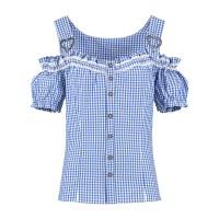 Trachten mieder blouse dames blauw wit