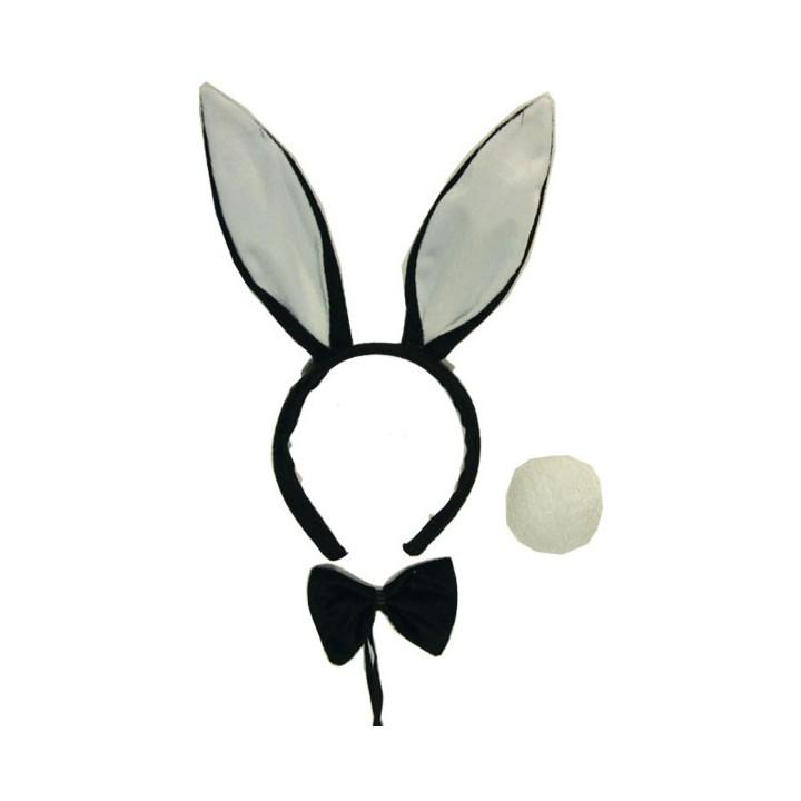 Bunny oortjes en staart + strikje zwart