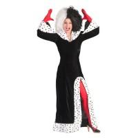 Cruella De Vil kostuum dames lange jurk