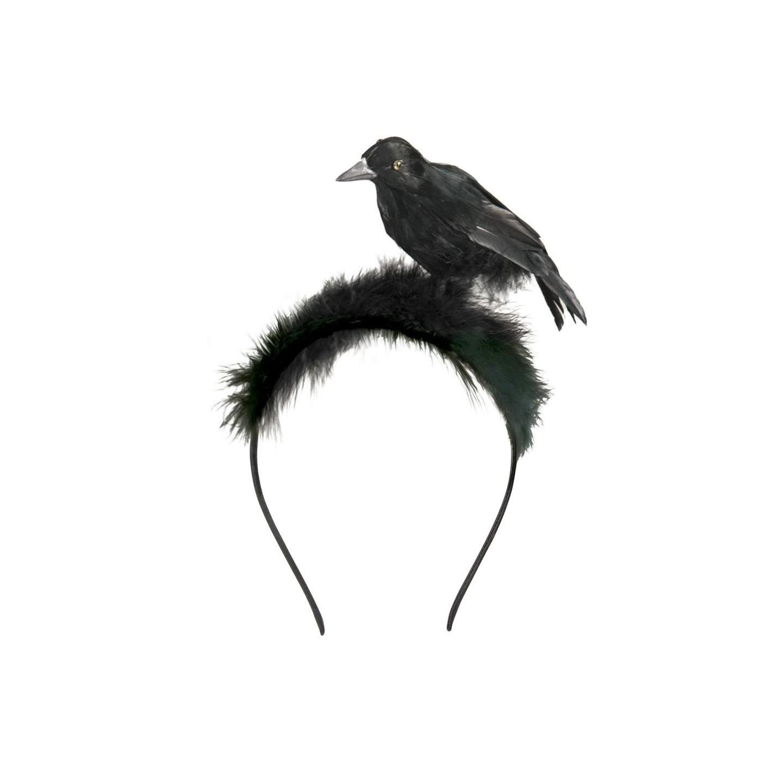 Diadeem met kraai halloween accessoires