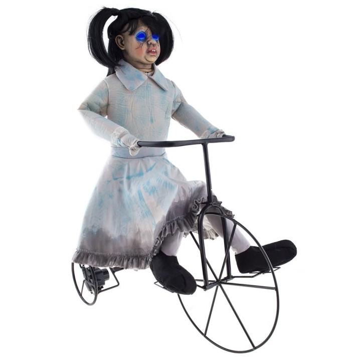 Meisje op fiets licht geluid beweging
