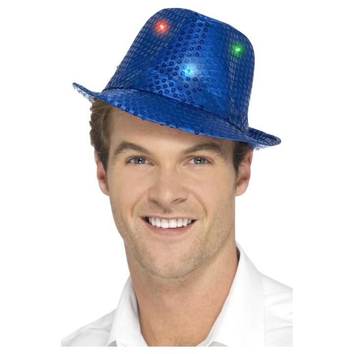 Glitter hoed blauw met LED lichtjes