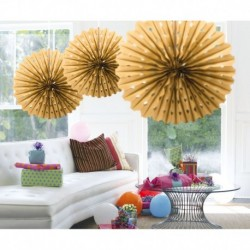 Honeycomb Fan Papier Goud 45cm
