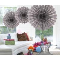 Honeycomb Fan Papier Zilver 45cm