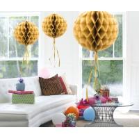 Honeycomb Bol Papier goud 30cm