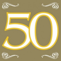 Papieren Servetten 50 Goud 20st