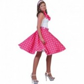 Rock n Roll Rok Polka Fuchsia/Wit
