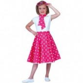 Rock n Roll Rok Polka Fuchsia/Wit KIND