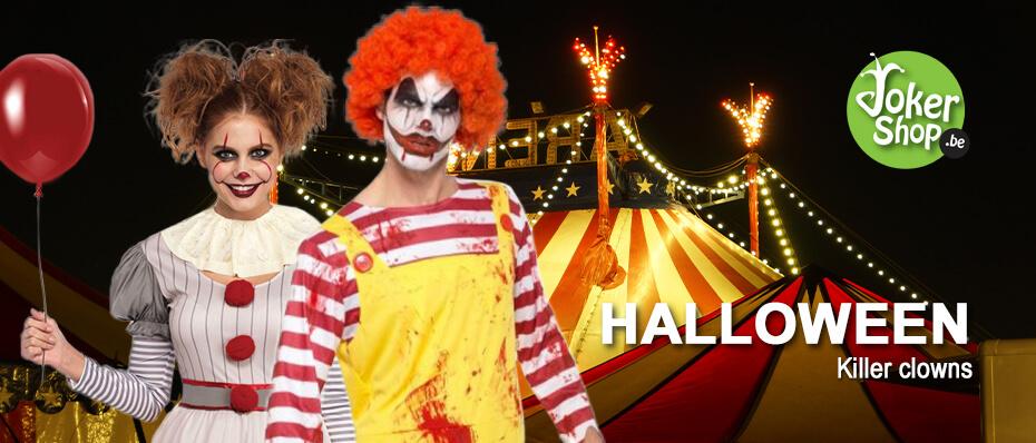 Halloween enge killer clown kostuum masker