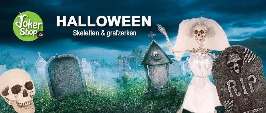Halloween skelet grafzerk griezelig