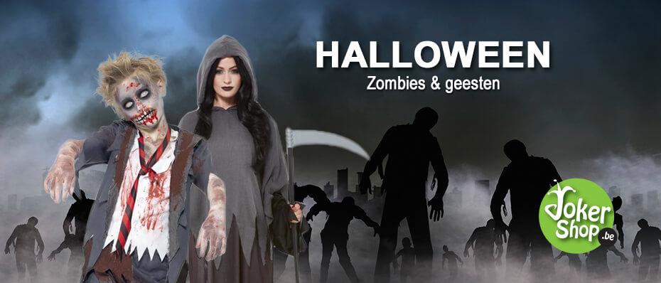 Halloween zombie geest spullen kledij accessoires