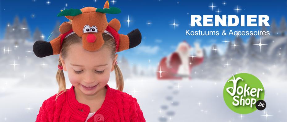 rudolph rendier kostuum rendierpak diadeem rendierhoedje hoedje kerst kleding kerstkleding verkleedkleding