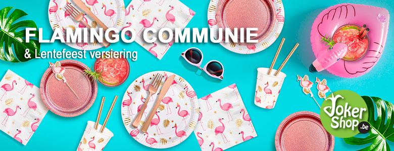 communie flamingo thema versiering lentefeest decoratie