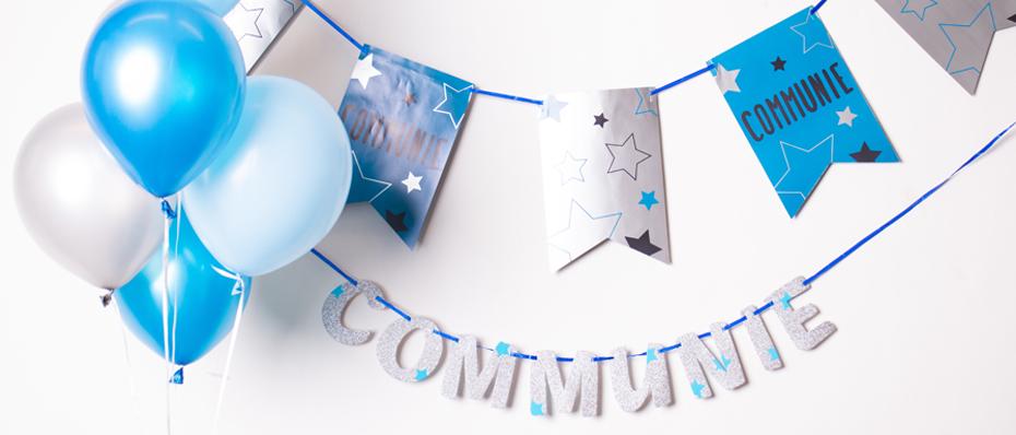 communie versiering blauw lentefeest decoatie