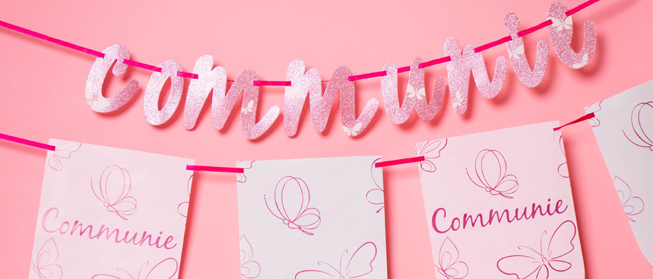 communie versiering roze lentefeest decoratie