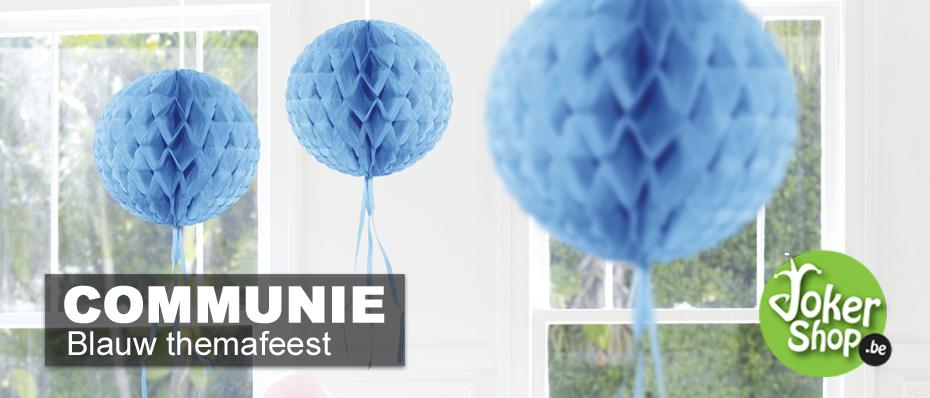 communiefeest versiering blauwe thema decoratie