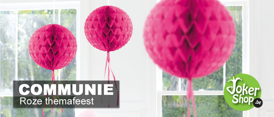 communiefeest versiering roze decoratie thema