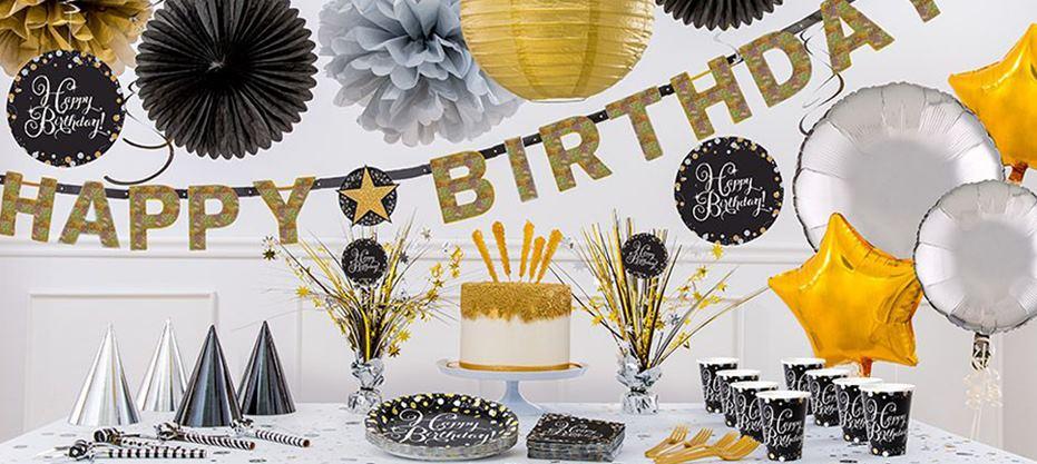 verjaardag versiering zwart goud zilver decoratie