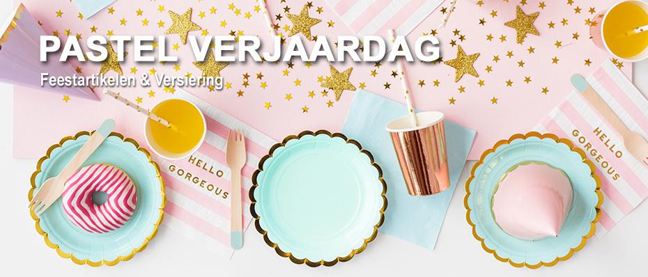 pastel verjaardag decoratie pastelkleuren versiering feestartikelen