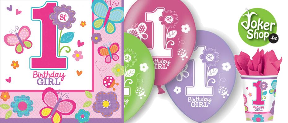 1ste eerste verjaardag versiering meisje verjaardagsfeestje decoratie feestartikelen
