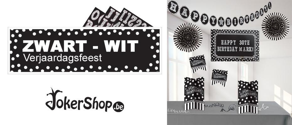 zwart wit feestje themafeest black white feestartikelen verjaardag versiering decoratie