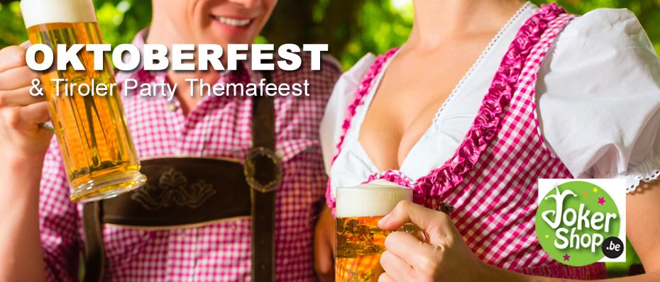 oktoberfest tiroler themafeest party kleding outfit lederhosen dirndl jurk tirolerhoed accessoires decoratie versiering